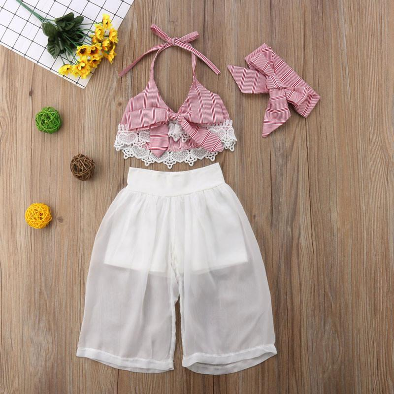 Clothes Toddler Girl Clothes Set Baby Summer Girl Sleeveless Lace Bowknot Crop V-neck Top Pants Turban Costume