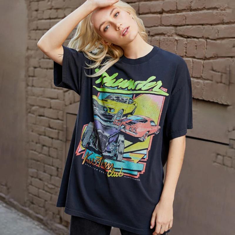Sommer Lustige Auto Club Buchstaben Drucken Vintage T-Shirts Schwarz Weiß Baumwolle Kurzarm Grafik Grunge T Shirts Frauen T-Shirt