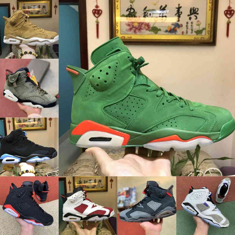 Satış 2021 Travis Hare DMP 6 Erkek Basketbol Ayakkabı Scotts Yansıtıcı 6 S Tinker Siyah Kızılötesi Carmine Oregon Erkek Eğitmenler Spor Sneakers C3