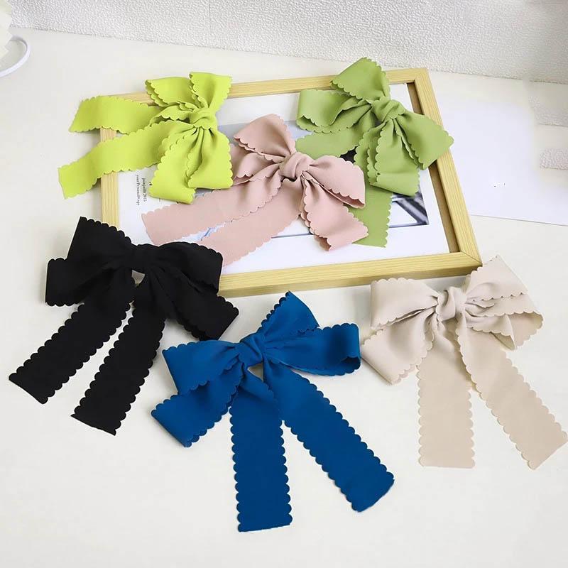 New Fashion Satin Chiffon Ribbon Bow Bow Barrette Hairpin per le donne Girls Headwear Clip orizzontale Clip AirGrip Accessori per capelli dolci