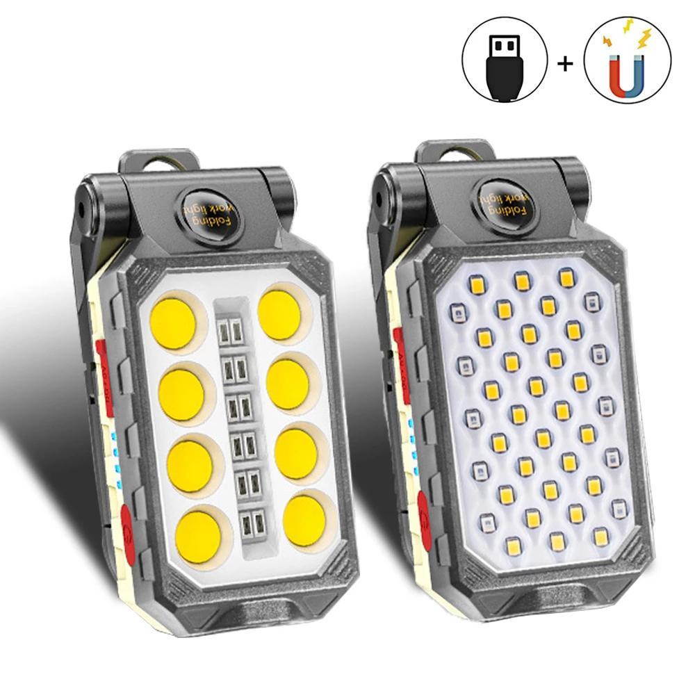 DHL USB-Fackeln wiederaufladbare COB-Arbeitslicht tragbare LED-Taschenlampe einstellbar wasserdichtes Camping-Laterne-Magnet-Design mit Power-Display