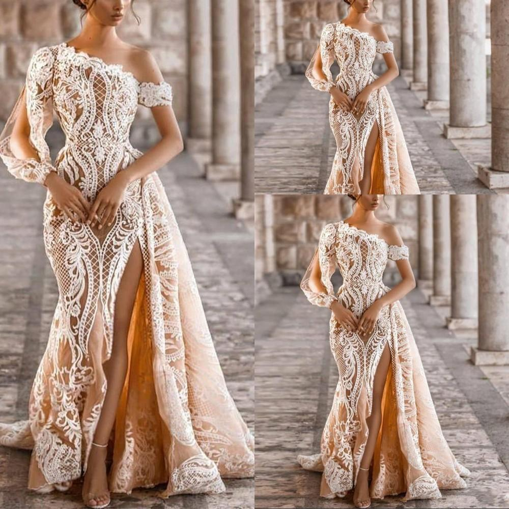 2021 Champagne One Shoulder Mermaid Wedding Dresses Overskirt Bridal Gowns Thigh Slits Long Sleeve White Lace Appliques Detachable Train Beach Formal Plus Size