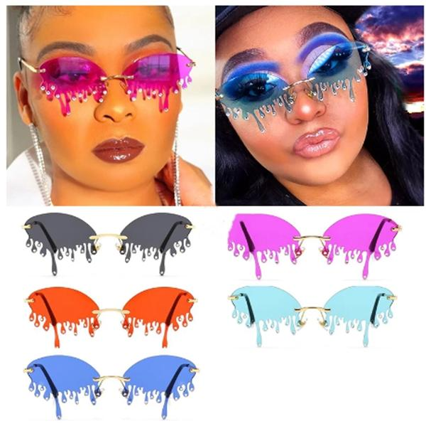 Wholesale Trendy Crystal Tears Rimless Sunglasses For Women Unique Glasses Fashion Diamond Fun Streetwear In Bulk Vendors