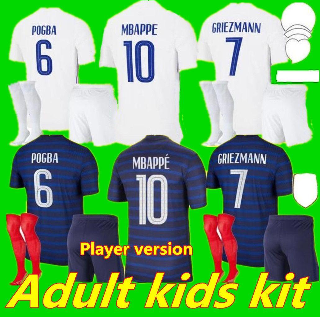 Jogador Versão 2021 Benzema Mbappe Griezmann Pogba Jerseys 21 22 Futebol Jersey Kante Camisas de Futebol Thauvin Varane Maillot De Foot Hommes + Enfants Kit