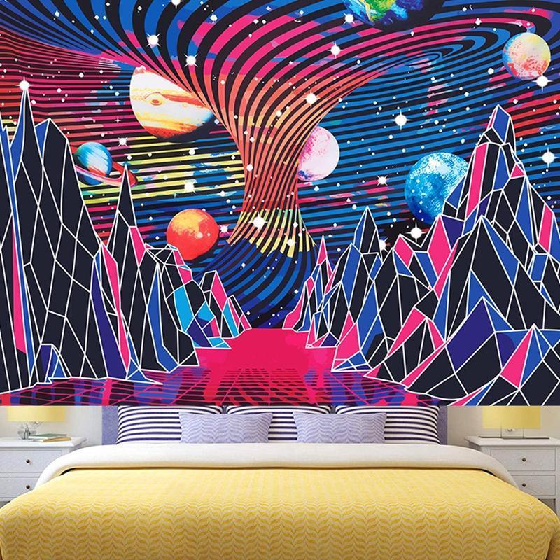 Tapisseries trippy montagne planète tapisserie hippie vagues abstraite espace paysage galaxy mur suspendue