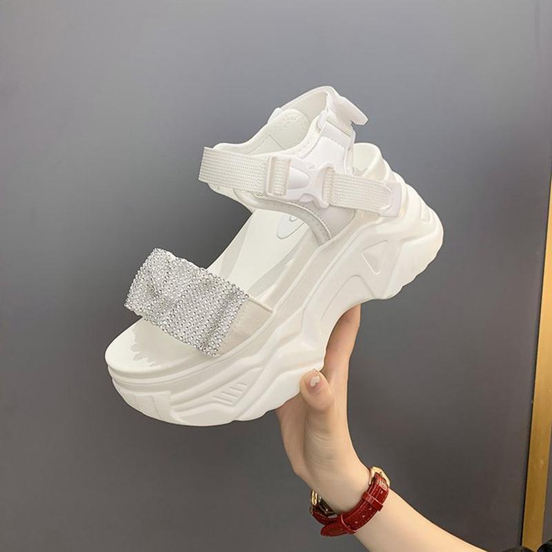 الصنادل عارضة أحذية رياضية المرأة مطوي المرأة على منصة الكاحل الأشرطة slingback الصيف جولة تو أحذية للشاطئ في الهواء الطلق