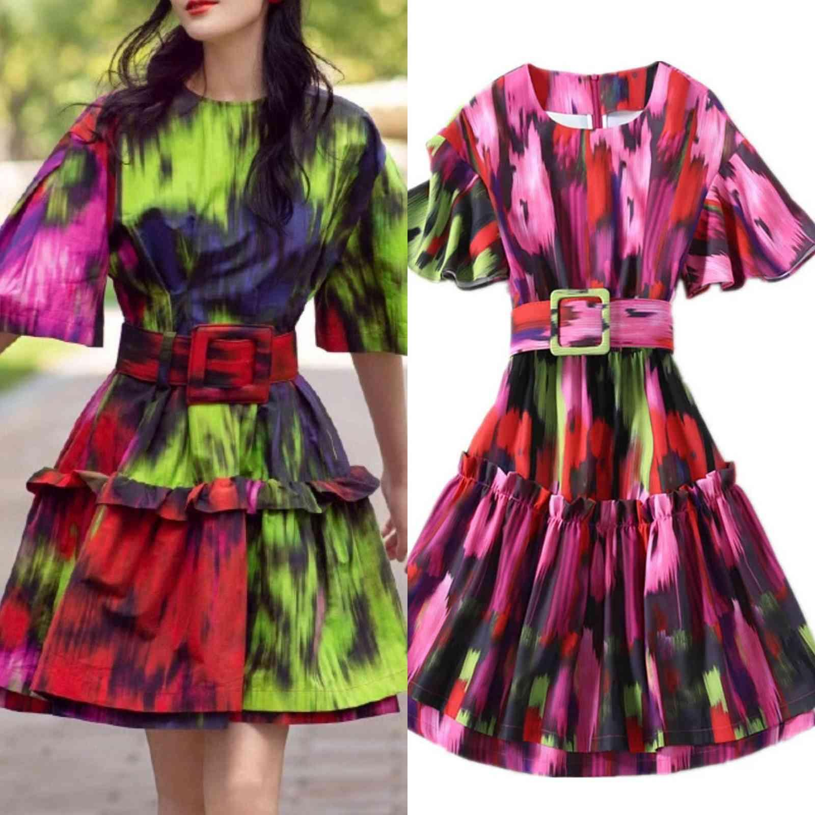 European and American celebrities camouflage print dress with flying sleeves waist stitching