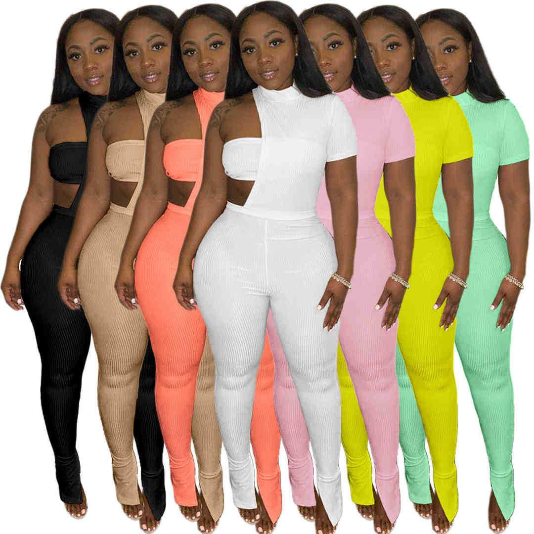 Womens Three Piece Pants Suit Crop Top Legging Set Sexy Hollow Out Short Sleeve Trousers Outfits Night Club Party Ladies Casual Clothing