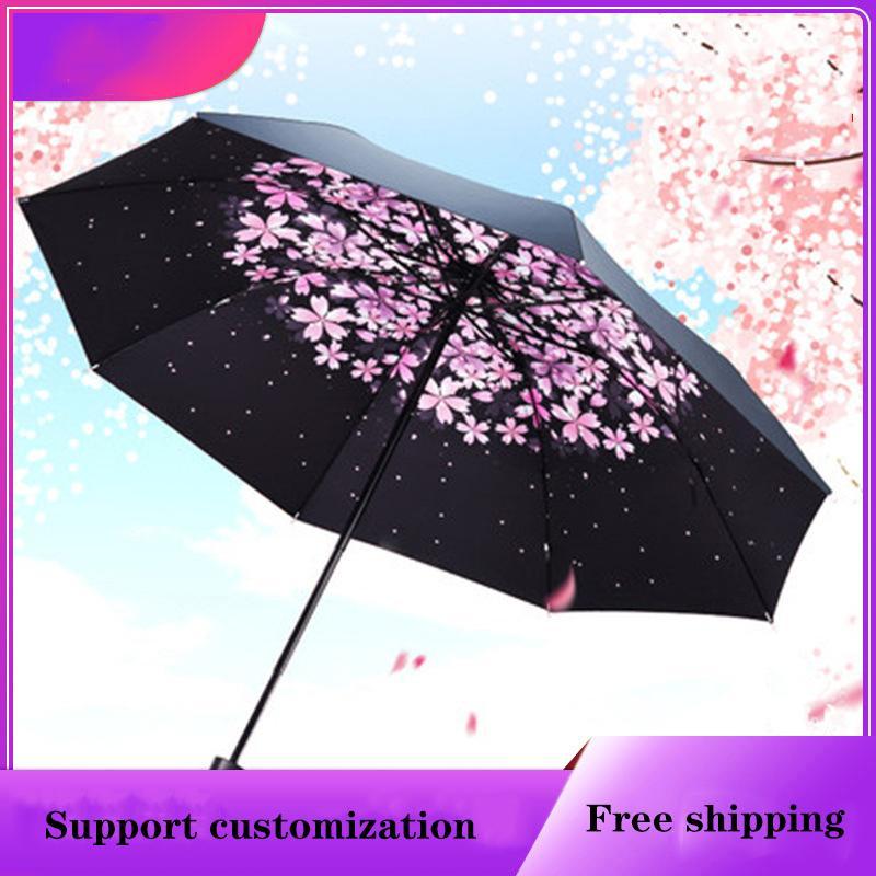 높은 품질의 태양 우산 크리 에이 티브 여성 작은 검은 사용자 정의 로고 3 배 보호 빗물 우산에서 접는 광고 쉼터