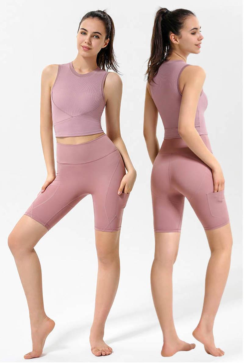 Yoga Kolsuz Nervürlü Spor Giyim Tankları T-shirt Yelek Gömlek Kadın Spor Streç Sıkı Dış Iç Çamaşırı Açık Giysileri