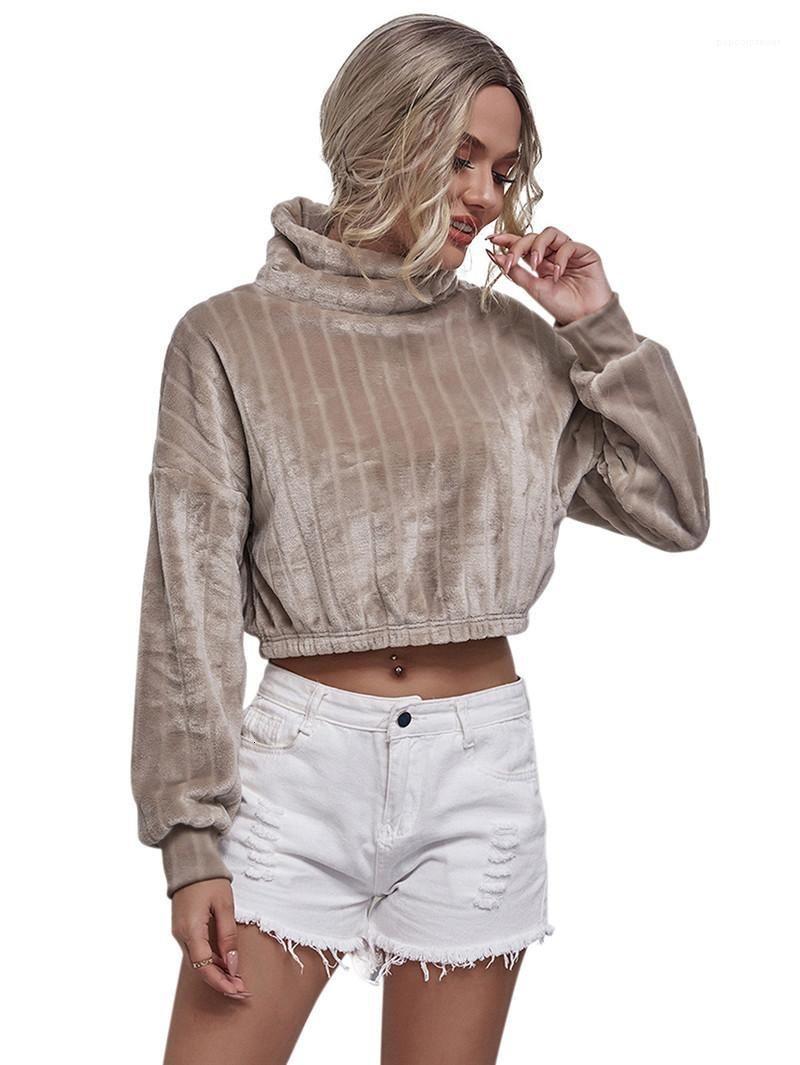 Frauen weibliche Kleidung Damen Designer High Neck Hoodies Langarm Kurz Damen Sweatshirts Mode Lässige Herbst Winter