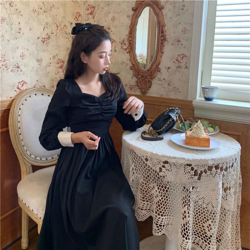 Lässige kleider langarm kleid frauen spitze button v-ausschnitt herbst elegante retro fashion ulzzang n stil schönheit straßebekleidung ins schick