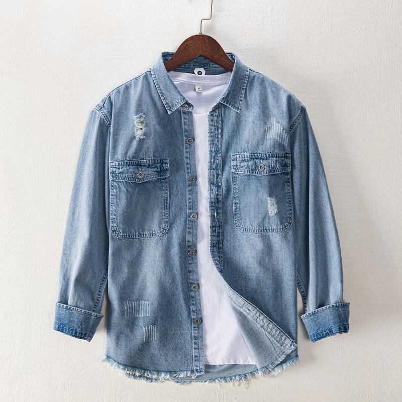 Vintage rústico ripper buraco denim camisa moda punk streetwear roupas roupas de vaqueiros de cowboy de alta qualidade fina fit camisas casuais