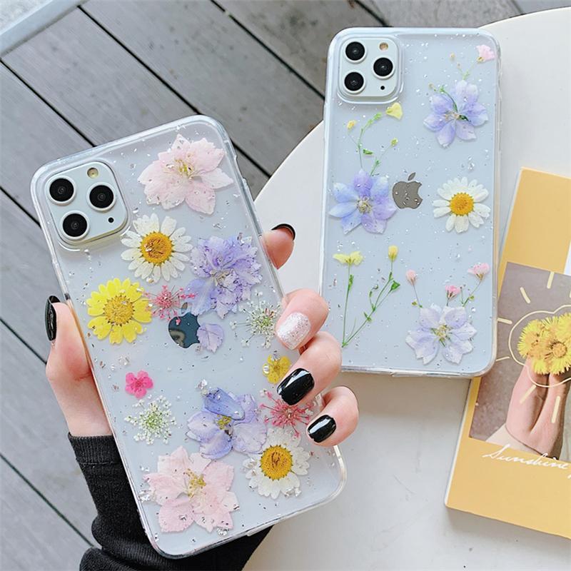 Giltter Daisy Capas telefônicas de flor seca para iphone 12 11 pro xs max xr x 7 8 mais luz traseira tampa macia