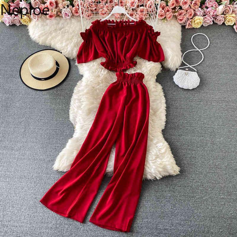 Moda Suit İki Parça Kıyafetleri Kadınlar için Slash Boyun Kapalı Shouder Kırpma Gevşek Waide Bacak Pantolon Yaz Kore 2 Set 210422