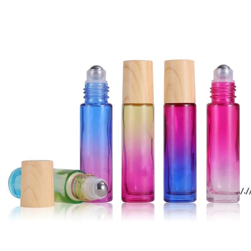 Diffusore di olio essenziale da 10 ml bottiglia Bottiglia Bottiglie di bottiglie di vetro Rotolo con tappo di plastica del grano di legno e colore sfera in acciaio colorato DWA6174