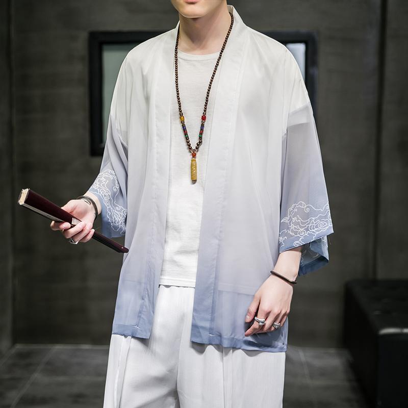 남자 얼음 실크 카디건 셔츠 중국어 스타일 오픈 스티치 outwear 남자 가운 트렌치 태양 보호 탑 남자 캐주얼 셔츠