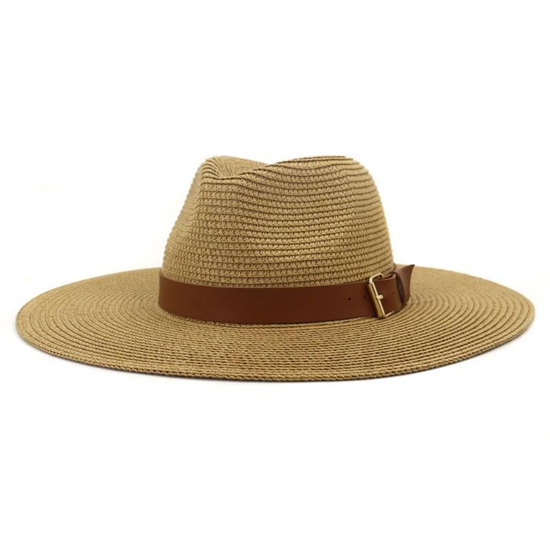 클래식 9.5 cm 와이드 브림 밀짚 모자 여성 우아한 단단한 여름 태양 캐주얼 스타 캡 빈티지 재즈 결혼식 모자