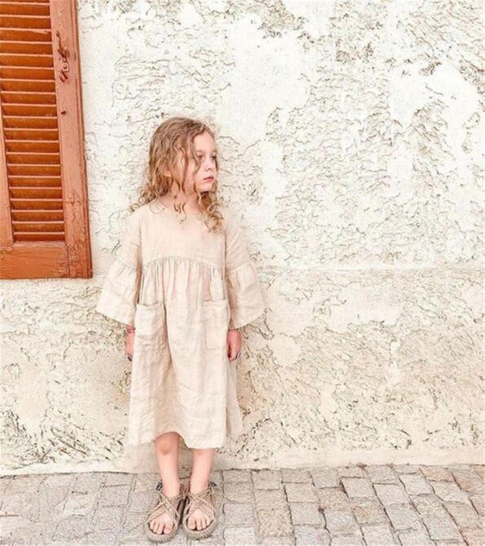 DB Australia Style INS Little Girls Organic Linen Cotton Dresses Front Pockets Designer Casual Princess Dress