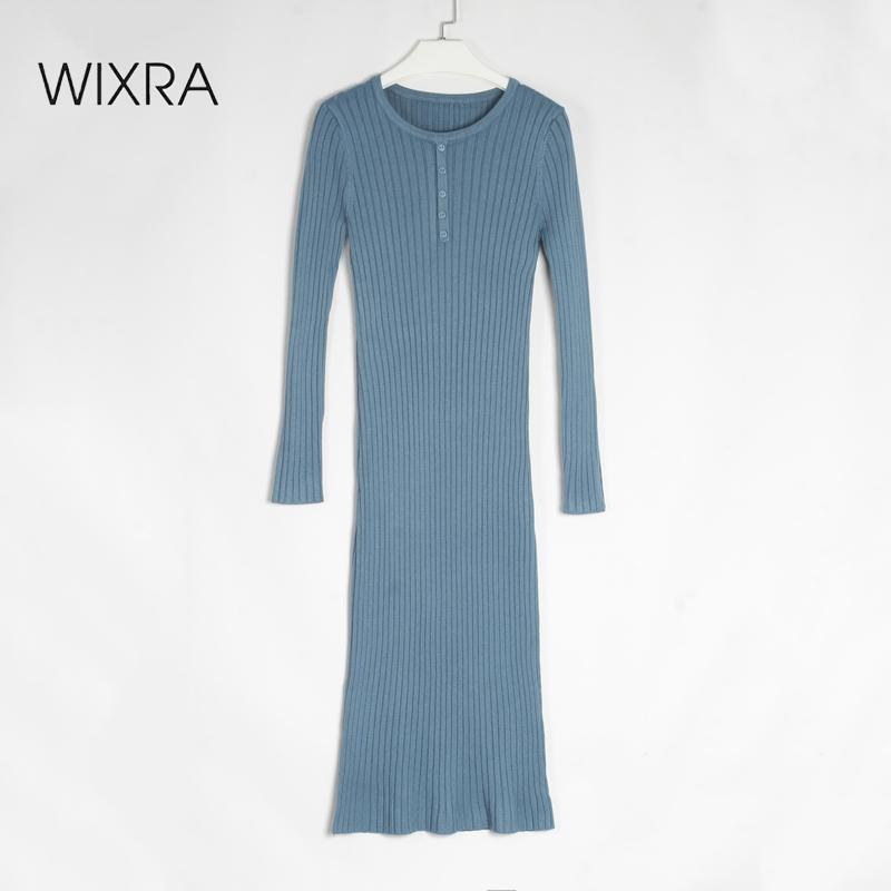 Вязание прямых платьев о шеи женские зимние кнопки толстые теплые длинные твердые ребристые одежда для леди 210414