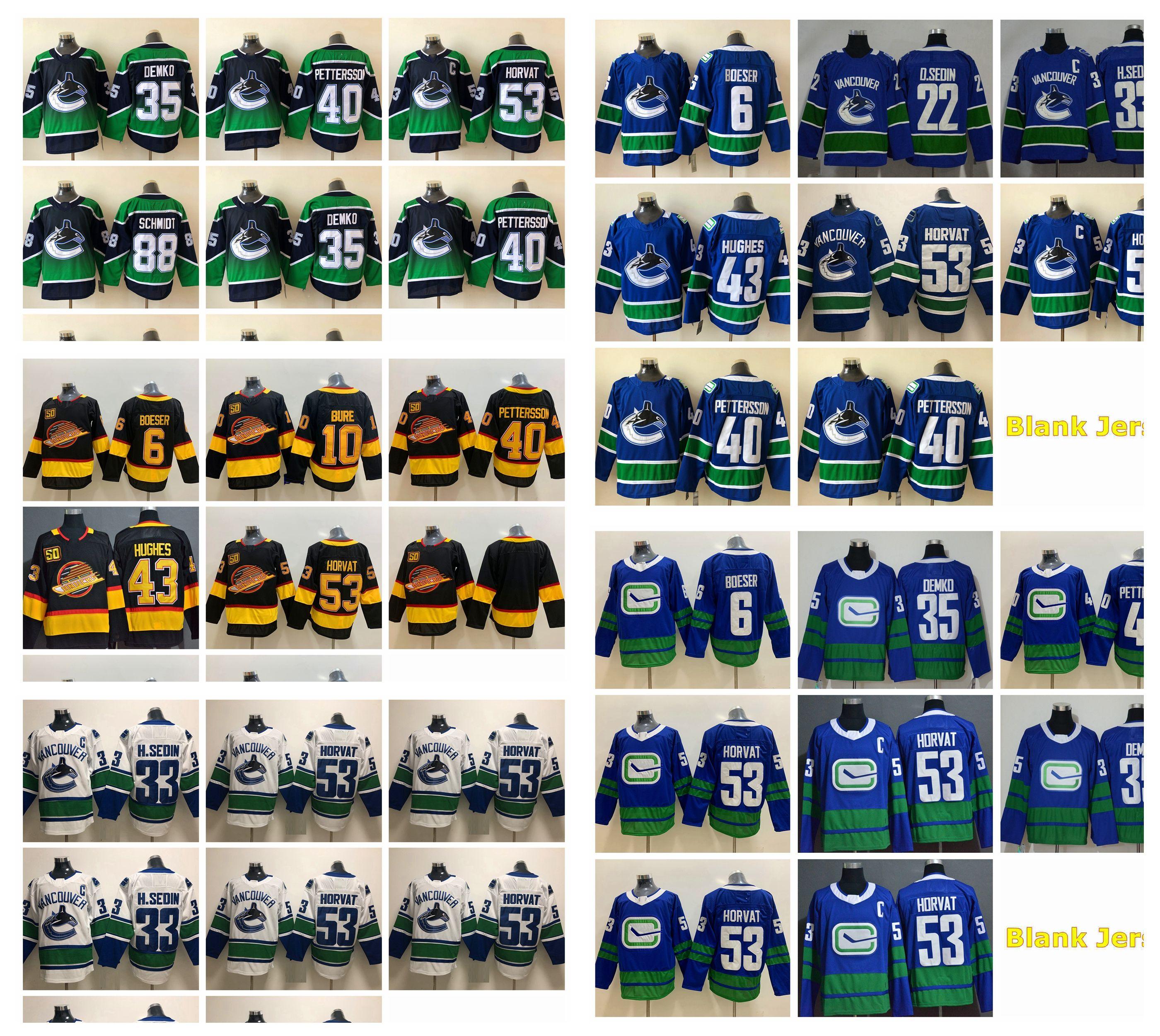 2021 Vancouver Canucks Jerseys Hóquei Mens Henrik Sedin Jersey Bo Horvat Elias Pettersson Nate Schmidt Loui Eriksson Brock Boeser Jake Virtanen Costura
