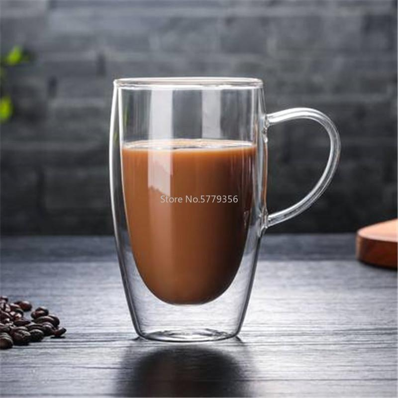 Mugs Double Wall Glass Coffee Tea Cups Heat Resistant Transparent Mug Water Drink Cup