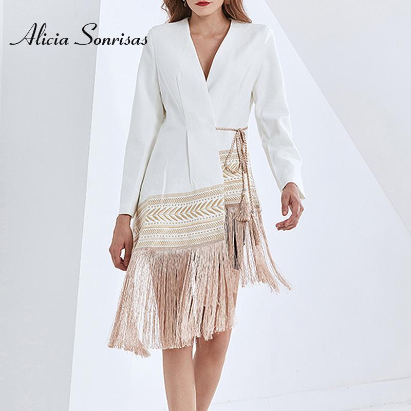 Frühling Herbst Sommer Design Mode Langarm Quaste Trim Gestickte Saum Unregelmäßige Kleinanzug Jacke Für Frauen Frauen Anzüge Blazer