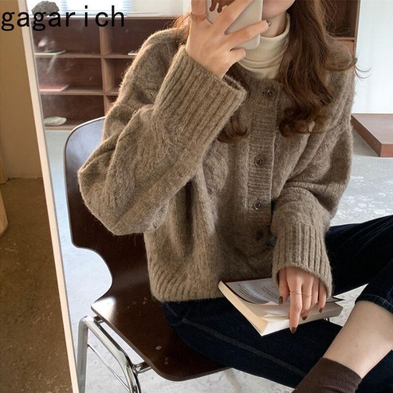가가 리치 여성 카디건 한국어 스타일 레트로 트위스트 긴 소매 O 넥 넥타이 2021 가을 겨울 느슨한 따뜻한 탑스 조수 여성의 니트 티셔츠