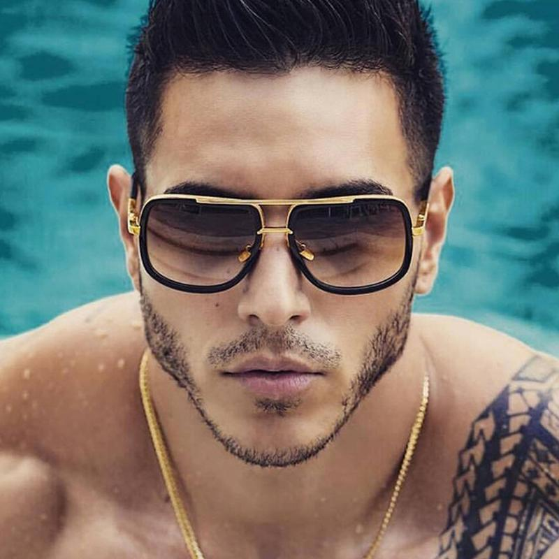 Sonnenbrille Klassische übergroße Männer Frauen Mach Eine Sonnenbrille Square Retro Male UV400 Spiegel Eyewear