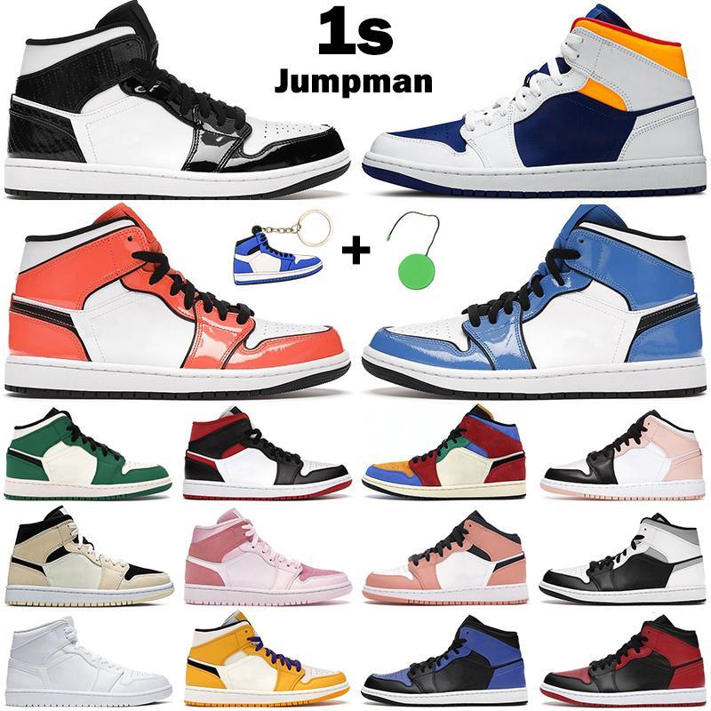 Hommes Femmes Chaussures de basketball 1S Mid Jumpman 1 Lumière fumée Gris Bleu Royal Bleu Signal Turf Orange Blanc Shadow Rose Quartz Mens Entraîneurs Sneakers