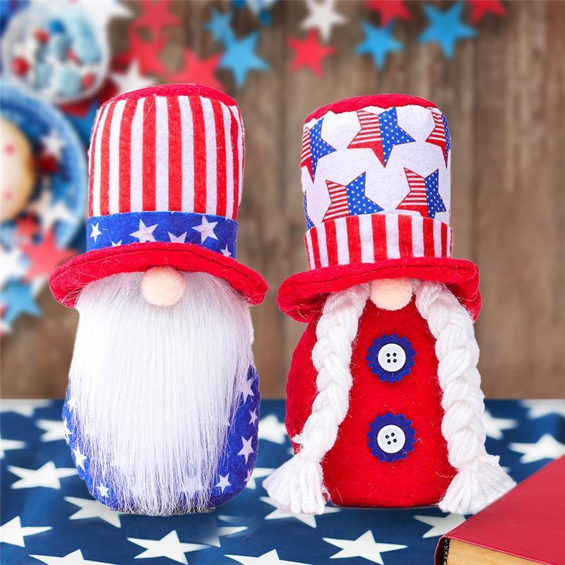 독립 기념일 애국적인 그놈 미국 별과 줄무늬 수제 Dwarf 인형 7 월 어린이 장난감 홈 탁상 장식