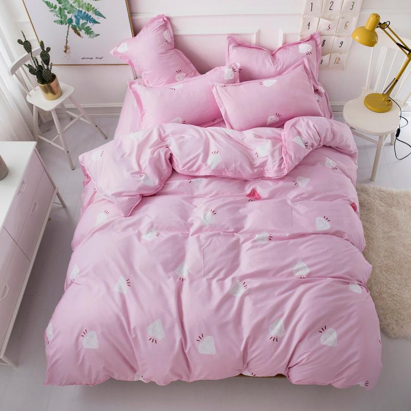 Bettwäsche-Sets 2021 Zuhause Textil König König Königin Zwillingswäsche Mädchen Kind Teenage Erwachsene Diamant Rosa Bettbezug Flachblech Kissenbezug