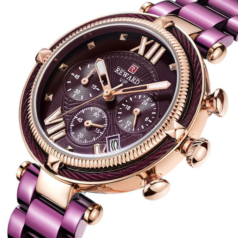 Armbanduhren Belohnung Top Marke Frauen Uhren Wasserdichte Mode Lässige Quarz Chronograph Damen Kleid Uhr Uhr Relogio Feminino 2021