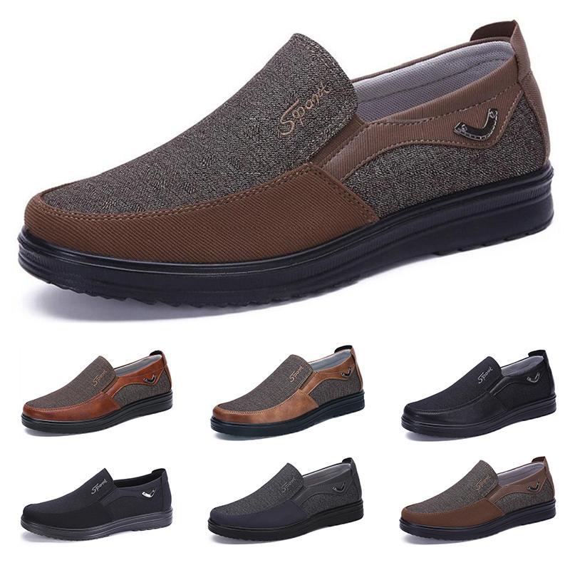 2021 Mode Designer Style de l'entreprise Chaussures Mens Hommes Black Brown Loisirs Flats Soft Flats Soft Hommes Robe décontractée pour la fête 38-44 Neuf