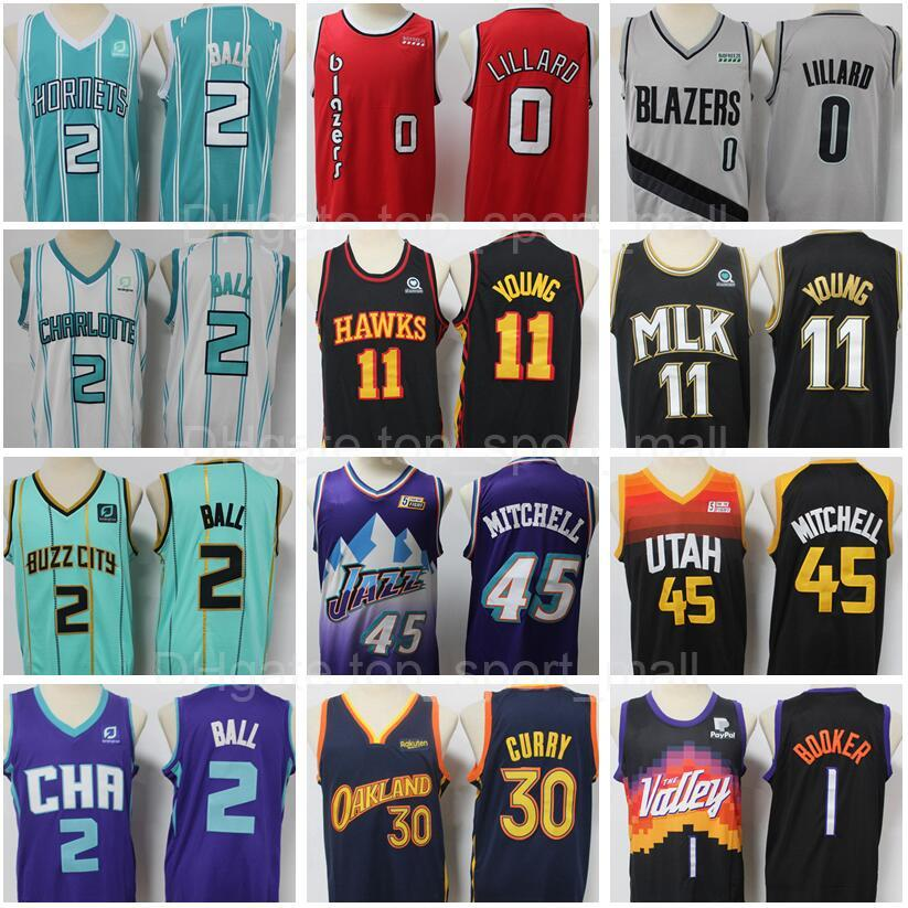 Baloncesto cosido 2 Lamelo Ball Jersey Stephen Curry Damian Lillard Trae Young Donovan Mitchell Devin Booker JA Morant Buzz City City Minted Green Blue Ganneed Edition