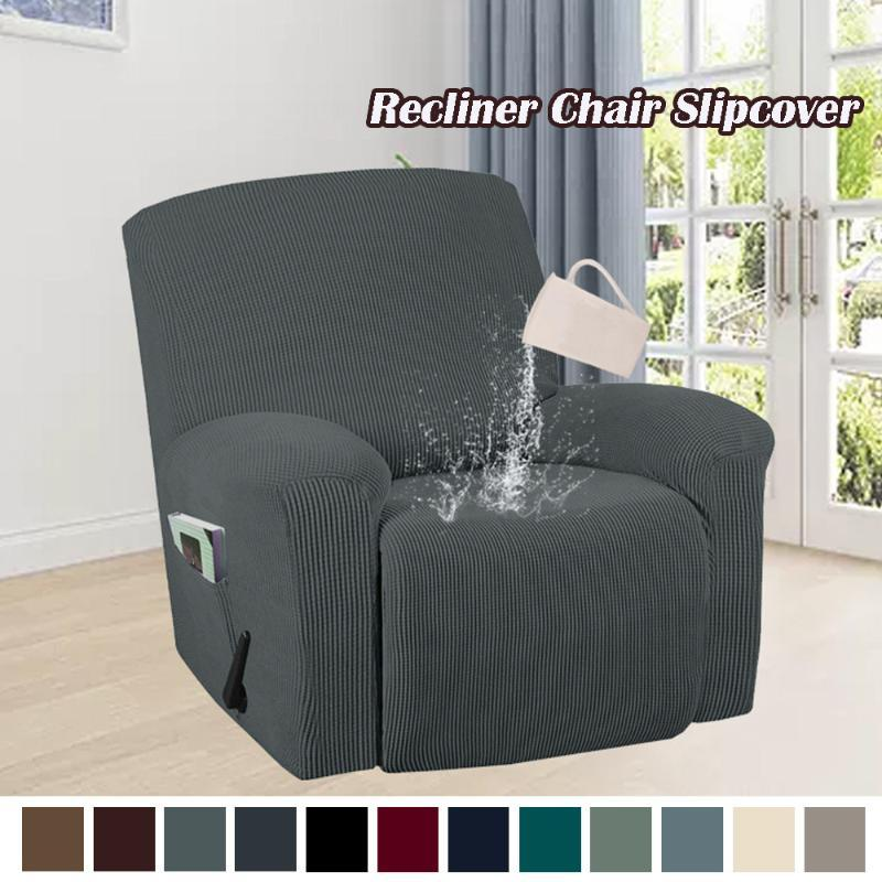 Splash-Proof-Stretch-Recliner-Sofa-Abdeckung 4-Teile-Spandex-Jacquard-Möbel-Protektor dicker Armstuhl rutschfeste Slipcover-Cover