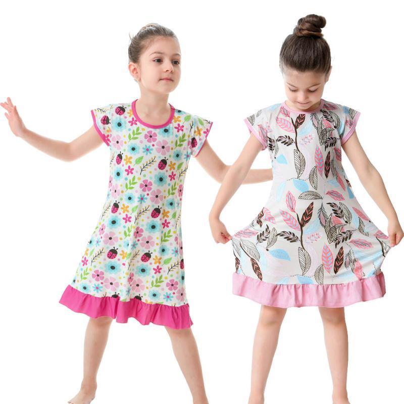 Vestidos de niñas para niñas Vestido de verano Explosión de verano impresión Spandex Dibujos animados 3D para 2-10 años de bebé lindo