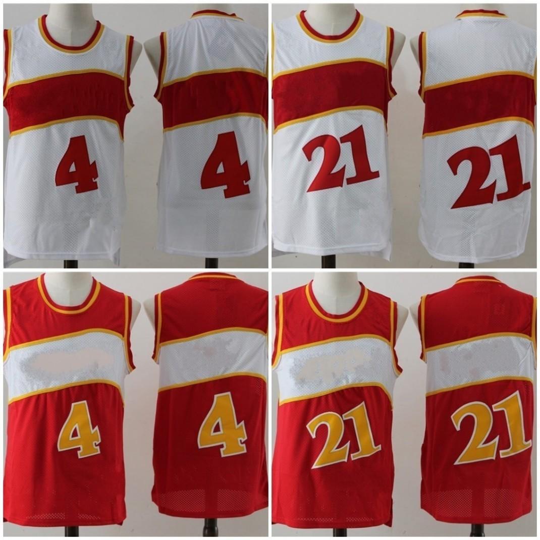 빈티지 유니폼 레드 화이트 4 Webb 44 Pete Dikembe 55 Mutombo Shirts 품질 크기 S-3XL 스티치