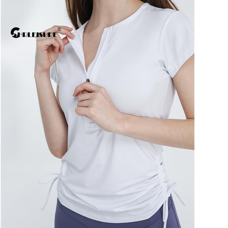 Slim Camiseta Mulheres Peito Zipper Drawstring Esportes Manga Curta Running Rápido Seco Fitness Yoga Topo Outfit