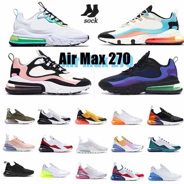 AIR MAX 270 REACT shoes 27c CNY Gökkuşağı 2.0 3.0 İkinci Nesil Üçlü Siyah Beyaz Fotoğraf Bule Zibar Gül Pembe Kırmızı erkek kadın Sneakers Koşu Ayakkabıları