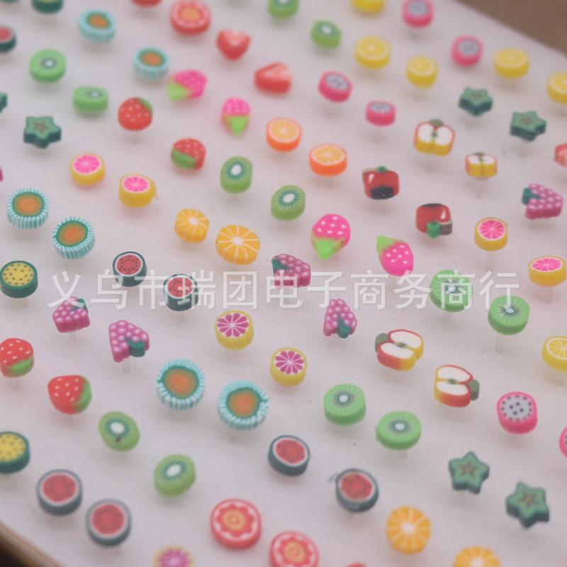 소녀를위한 귀여운 과일 모양 귀걸이 스터드 혼합 로트 폴리머 점토 귀걸이 100 쌍 도매 620 T2