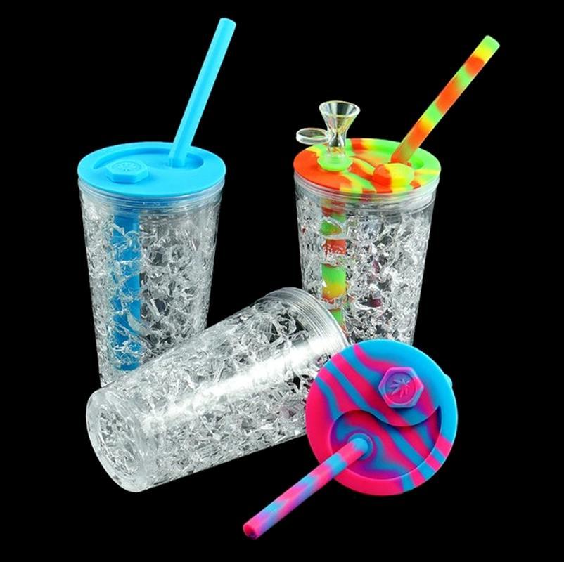 157mm * 68m Sommer Stil Getränk Tasse Wasserleitungen Silikon DAB RIG GLAS OBERRECHEN Kräuter Bubbler Glasschüssel Silikonbongs Mini-Rohr Recycler Haken