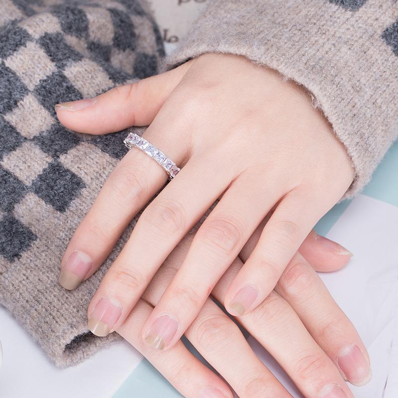 Retrô moda jóias genuínas 925 prata princesa topázio branco diamante eterno senhora anel de casamento anel presente 822 t2