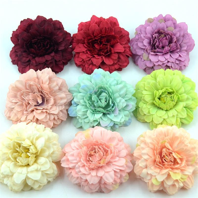 50 unids crisantemo de seda artificial cabeza de seda para el hogar fiesta de boda decoración guirnalda scrapbooking flores de girasol falsas ZHL393