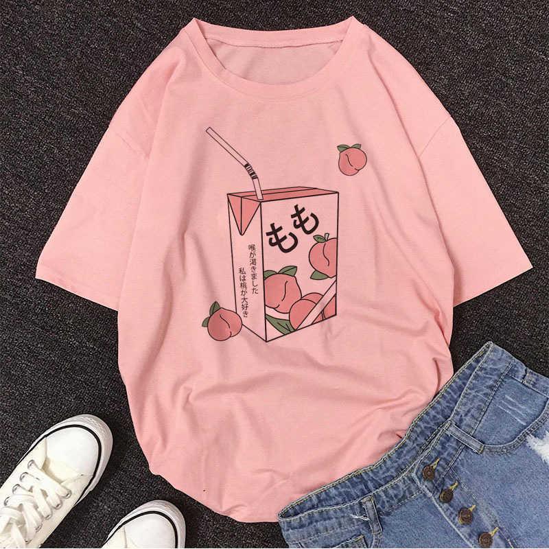 Y2K Top Cartoon Pfirsichsaft Japanse ästhetisch Grunge T-shirt Frauen Harajuku Niedlichen Kawaii Rosa Sommer Lässige Outfit Mode Tops Y0603