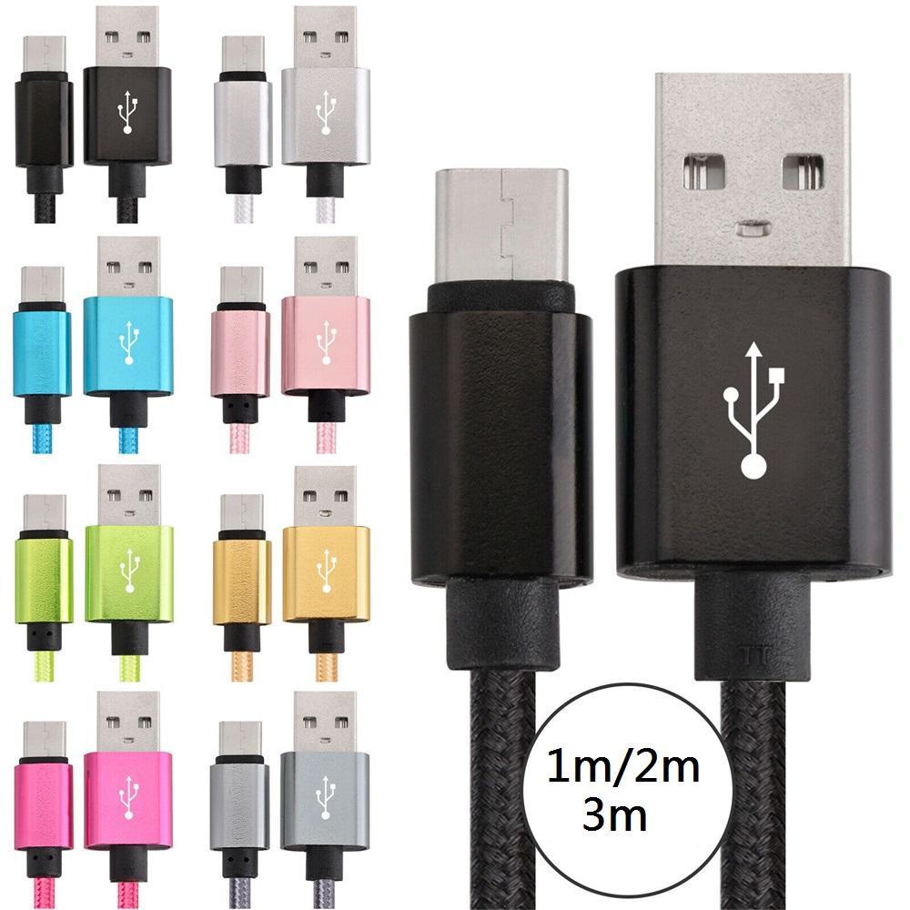 Tecido trançado mais espesso USB-C Tipo C Micro USB Cabo 1M 2M 3m 10ft para Samsung Xiaomi Huawei Celular Android