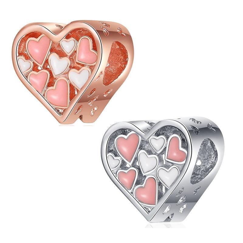 Fit Pandora Charm Bilezik Avrupa Gümüş Charms Yılan Boncuk Sevgililer Günü Kalp Emaye DIY Yılan Zincir Kadınlar Için Bileklik Kolye Takı