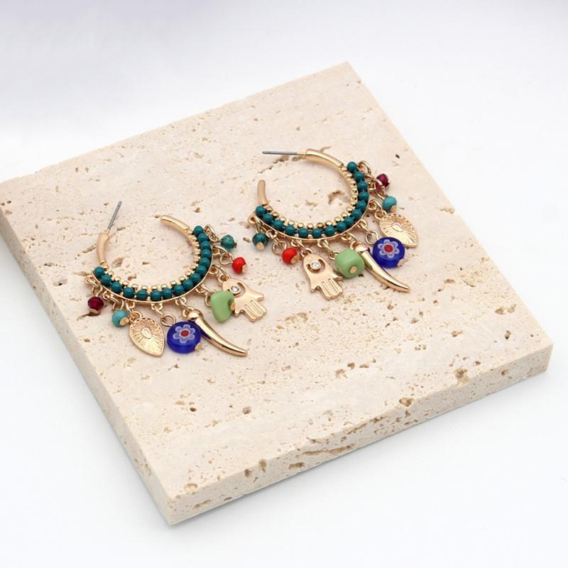 البوهيمي الأقراط 2021 عطلة البنود المد الإناث النساء شنقا مجوهرات شرابة قطرة الأذن الملونة الصيف شاطئ دائرة 202147 هوب هجي