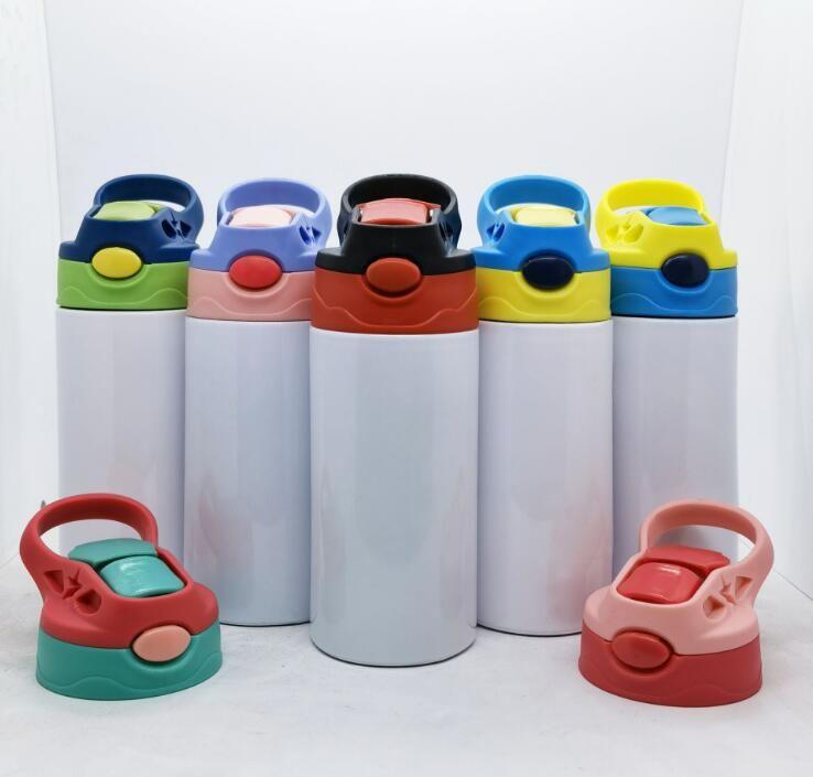 12oz reto copos de sippy sublimação crianças tumblers de aço inoxidável garrafas de água dupla isolamento de vácuo bebendo leite canecas cca12666 transporte marítimo