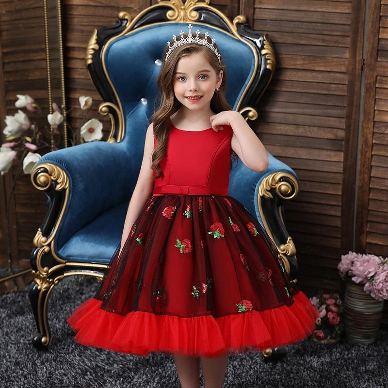 Kleinkind-Mädchen Pailletten-Erdbeer-Tüll-Kleid elektrische Kleider rot mit Bogen 4T bis 12T 303